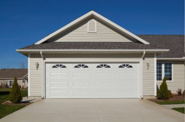 white long panel garage door installed