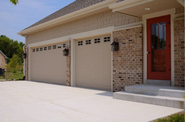 short and long panel garage door close up